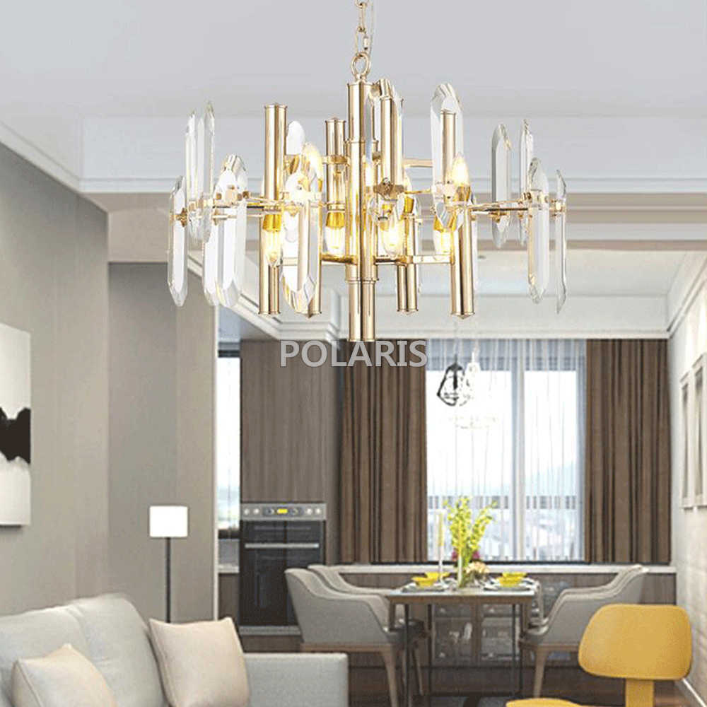 Современная короткая дизайнерская кристальная люстра освещение современный светодиодный хрустальный подвесной светильник для гостиная столовая золотистого цвета