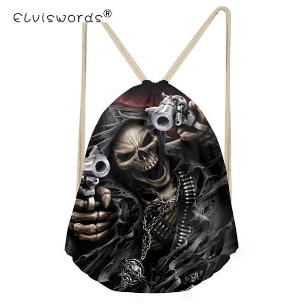 ELVISWORDS Punk 3D Azrael Skull Drawstring Bag for Boys Game Backpack Kids String Casual Men s