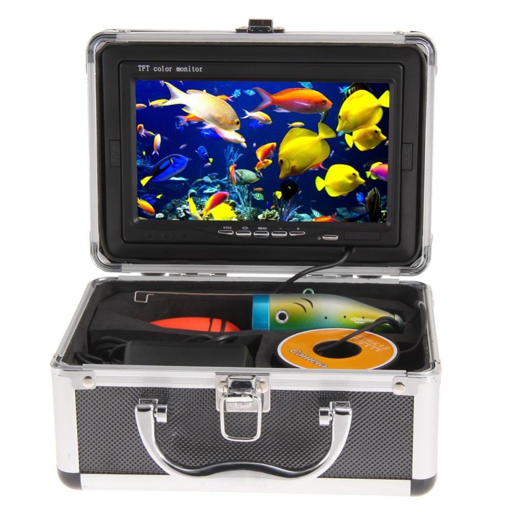 Original 30M Professional Fish Finder Underwater Fishing 7 Color Video Camera Monitor 1000TVL HD CAM 12pcs LED 7 lcd monitor hd 1000tvl waterproof 100m cable rechargeable battery fish finder underwater fishing video camera with led