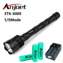 Anjoet setleri 6000LM taktik el feneri XM L 3T6 LED T6 avcılık kendini savunma meşale ışık lamba + 3x18650 pil + şarj cihazı ab/abd