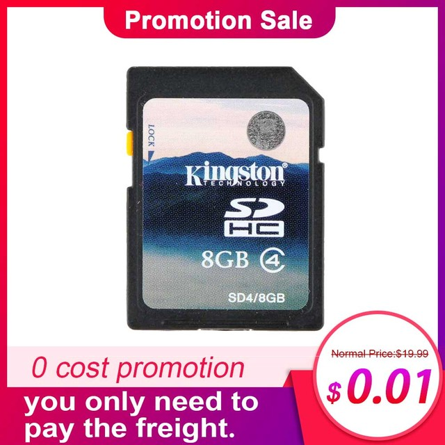 Kingston SD Card Class 4 8GB 16GB SDHC Memory Card Minimal Speed 4M/s for Cell Phone Camera HD Video