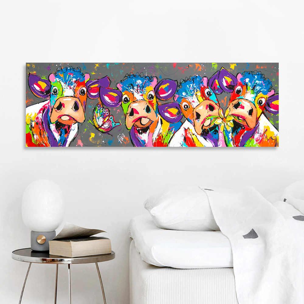 HDARTISAN Vrolijk Schilderij cuadro sobre lienzo para pared Animal foto cartel impresiones vaca pintura decoración de hogar, sin marco