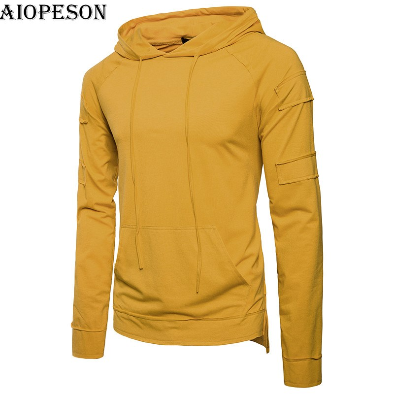 AIOPESON 2018 New Spring Trend Mens Hoodies Solid Slim Fit Hooded Sweat Shirts Men Patchwork Hip Hop Hoodies Men Plus M-3XL