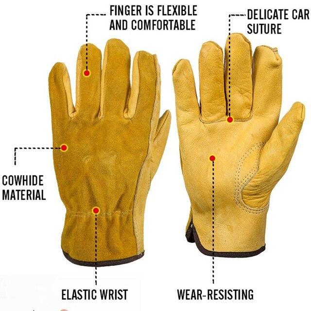 Safurance 男性の作業用手袋牛革ドライバのセキュリティ保護摩耗安全労働者溶接モト手袋