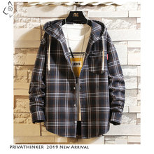 Privathinker Mens Streetwear Hooded Long Sleeve Shirts Male 2020 Autum Causal Pocket Plaid Coat Plus Size Cotton Shirt