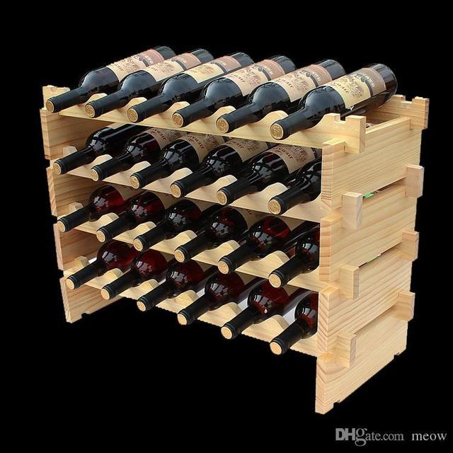 Wooden Wine Rack DIY Assemble Wine Shelf Wood Holders