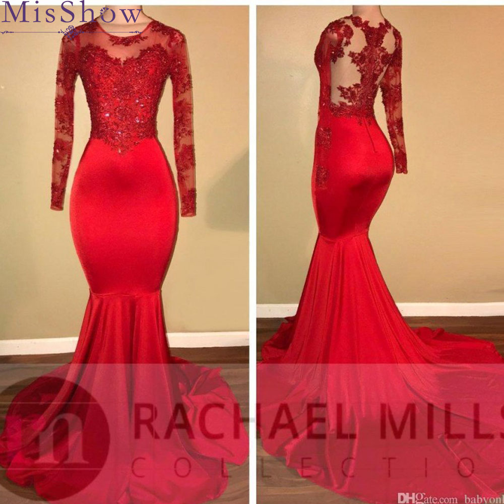 Women Elegant Long   Prom     Dresses   2019 Mermaid Long Sleeve Applique Illusion Lace Red   Prom     Dress   party gowns vestido de fiesta