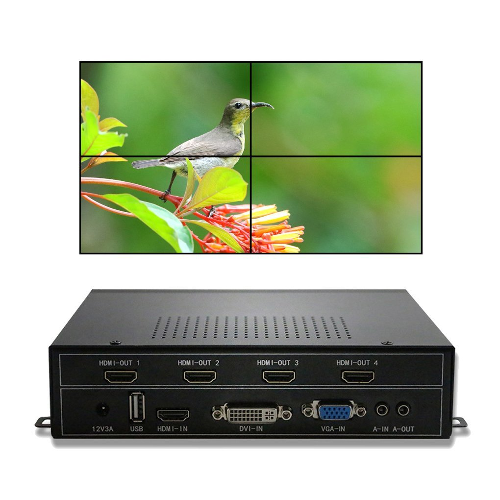 купить ESZYM 4CH Video Wall Controller 2x2 Video Wall Processor support HDMI DVI VGA USB inputs for 4 TV Splicing по цене 23836.52 рублей