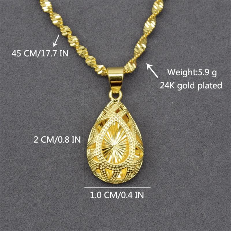 Купить с кэшбэком Liffly 24K Gold Necklace Women Fashion Jewelry Wedding Engagement Water Drop Pendant Necklaces Fine Jewelry Gift