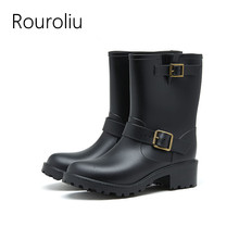 Rouroliu Women Hot British Style Buckle Rain Boots Non-Slip Waterproof Water Shoes Woman Mid-calf Wellies RB32