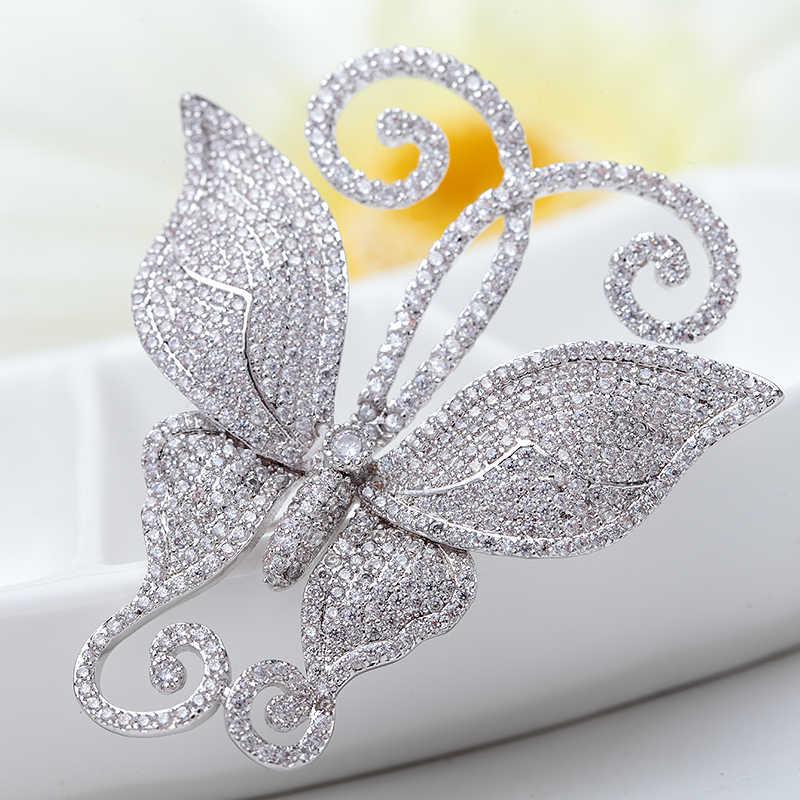 LUOTEEMI Mewah Pendatang Baru Mode Sparkling Batal CZ Dancing Kupu-kupu Bros Untuk Wanita Syal Bukle Karangan Bunga Pernikahan