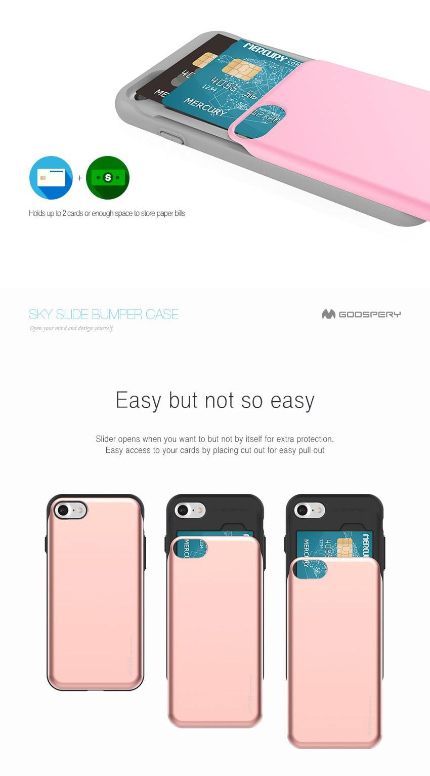For Iphone 7 Card Pocket Case Goospery Sky Holder Slide Pc Bumper Gold Aeproduct