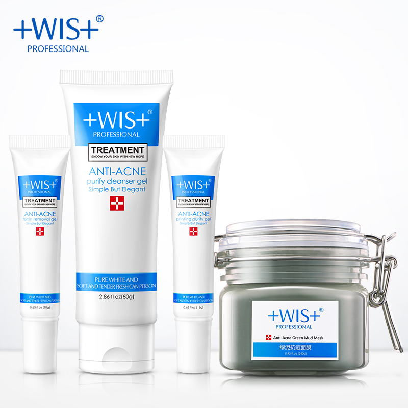 WIS anti-acne and care set, oil-controlling, cleanser gel, mud mask, anti-acne toxin removal gel, repair skin,acne marks