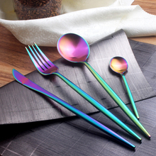 New Arrival Stainless Steel Cutlery Set Rainbow Gold Plated Dinnerware Set 4 Pieces Colorful Creative Dinner Set Fork Knife