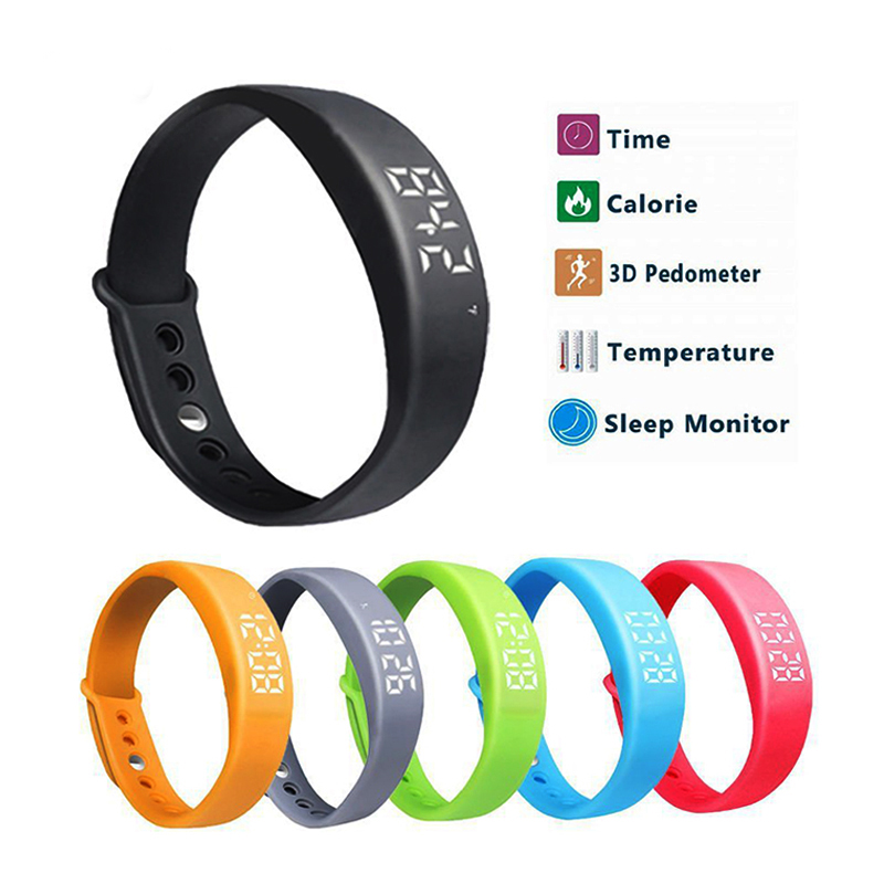 W5 Smart Bracelet Wristband Pedometer Thermometer Sleep Monitor Calorie Burning Tracker Smart Watch Men Women Retail Package p10