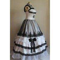 100% настоящая роскошь черный и белый вуаль Раффлед 17th леди платье винтажные бальный наряд Королевский Средневековый Ренессанс викторианско