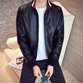 New 2017 spring fashion stand collar pu leather jacket men slim fit pilot leather jacket men's leather jacket size m-5xl PY21