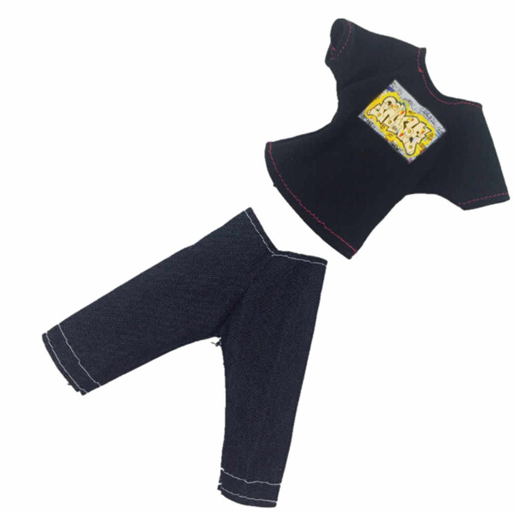 2 предмета/партия кукла Accessorise одежда черная футболка и капри костюм для мальчиков повседневный костюм для Кена куклы Костюмы для высота 30 см