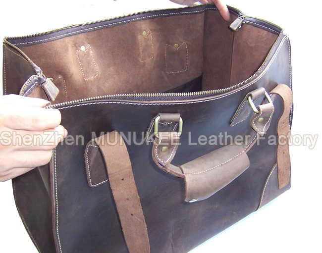 2018 Vintage Crazy Horse Real Leather Travel Bags Hand luggage Bag Big Men Genuine Leather Duffle Bag Weekender Tote Large Bag