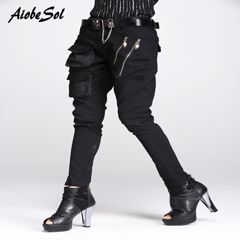 Haute Qualité Femmes Harem Pantalon Printemps Automne Personnalité Mince Grandes Poches Zipper Décoration Noir Crayon Pantalon Pantalon Femelle