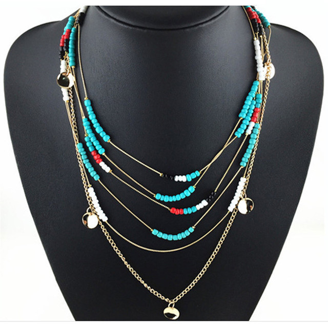 Women Bohemian Multi Layer Resin Beads Necklace Handmade Charm Metal Plate Pendants and Necklaces Personality Ethnic Necklace