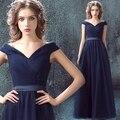 Azul com decote em v vestido de noite do baile de finalistas vestidos de festa vestido de chiffon chá duração mãe da noiva vestidos vestidos mãe de la novia