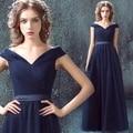 Azul con cuello en v vestido de noche vestidos de partido de baile vestido de gasa de té longitud madre de los vestidos de novia vestidos de la mama novia