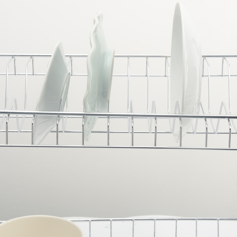Image 4 - 2 Tiers Dish Drying Rack Holder Basket Plated Iron Home Washing Great Kitchen Sink Dish Drainer Drying Rack Organizer-in Racks & Holders from Home & Garden