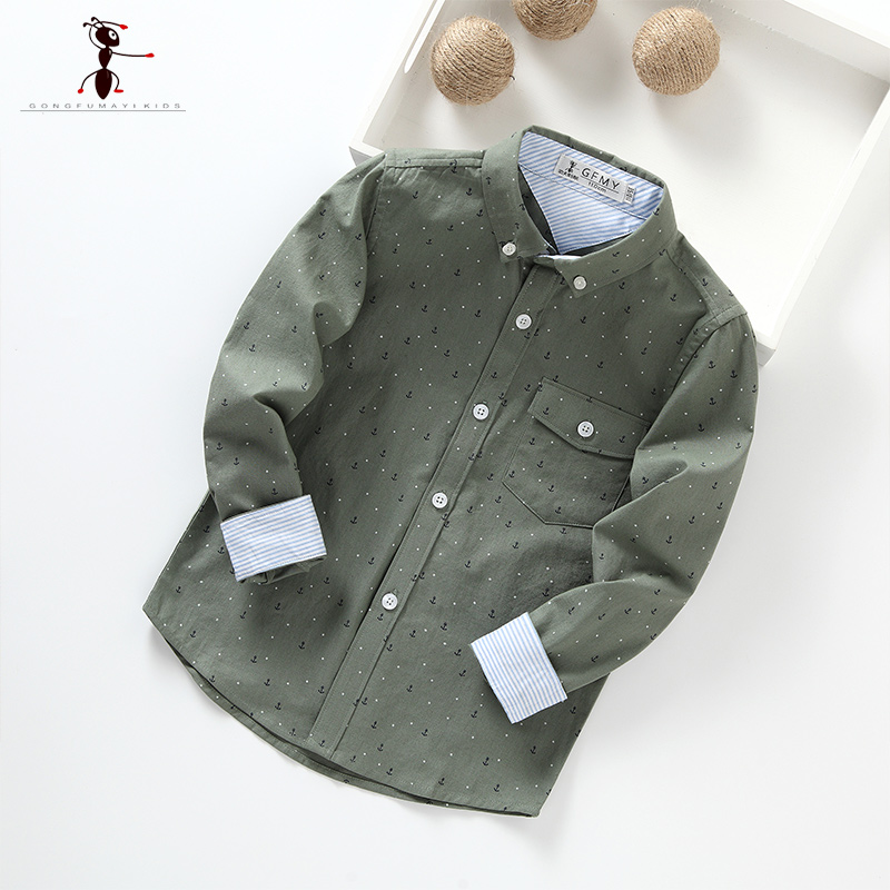 2017 Turn-down Collar Full Sleeve Casual Purple Beige Boys Shirts Camisa Menino Clothes Autumn Spring 2386 недорго, оригинальная цена