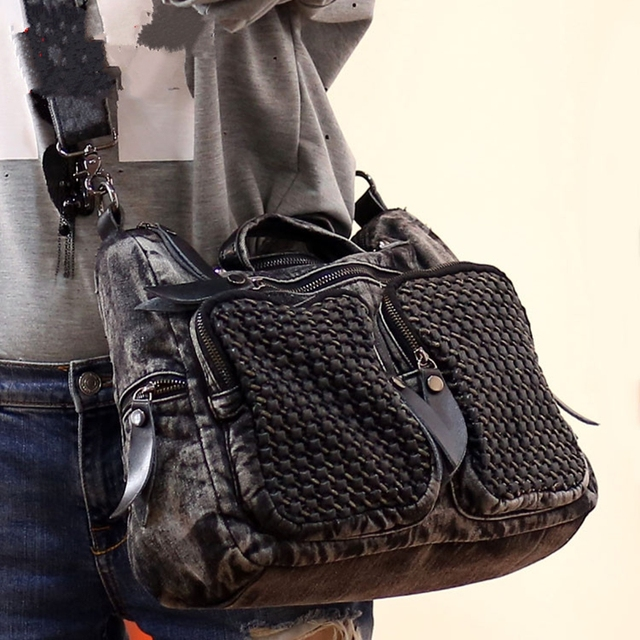 2017 New Fashion Rivet Women jean Baghandbag ,ladies' cool Denim bagshoulder bagMessenger Bag Motorcycle Bag Multi-pocket ~16