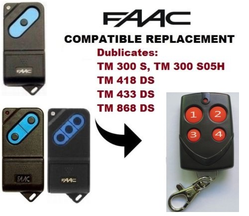 FAAC TM1 TM2  TM3 300mhz 418mhz 433mhz 868 Mhz Garage Door/Gate Universal 4-Channel Remote Control Replacement Cloning/Duplicator Fixed Code