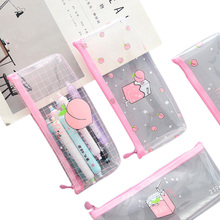10pcs/lot Creative Small Fresh Large Capacity Simple Fruit Transparent Stationery Pencil Case Three Selection