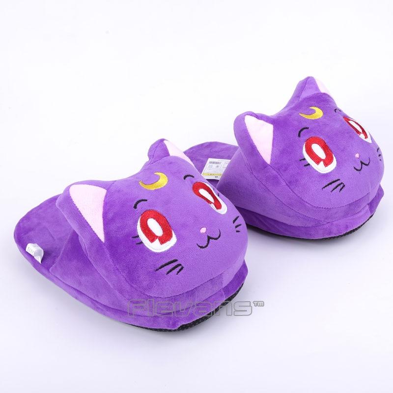 Anime Cartoon Sailor Moon Luna / Artemis Plush Slippers Shoes Home House Winter Slippers Plush Toys 3 Colors anime cartoon monster mudkip flareon snorlax adult plush slippers home winter slippers plush toys