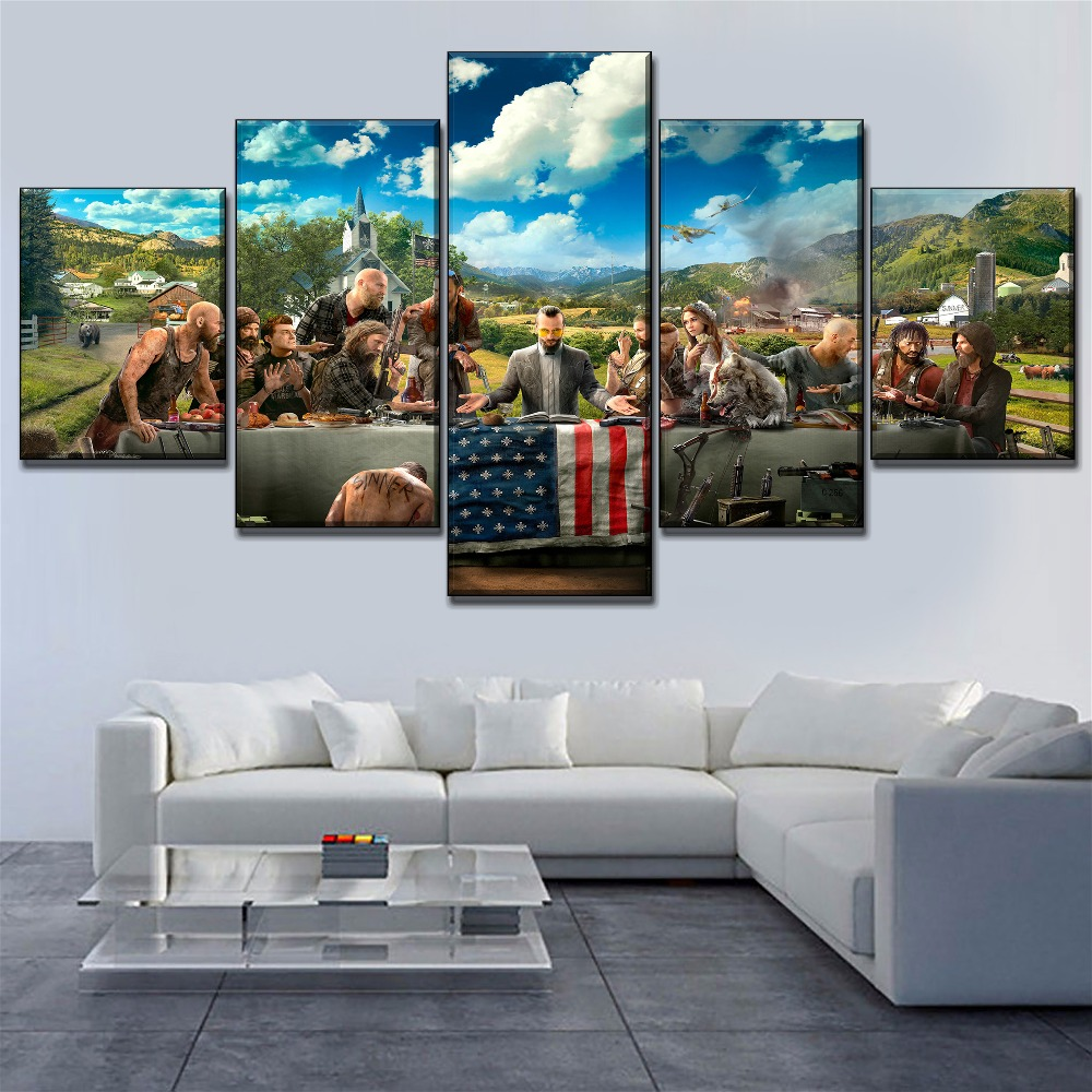 Wall Art Framework Canvas Posters 5 Pieces Game Far Cry 5 Key Paintings For Modern Living Room HD Print Picture Home Decorative image