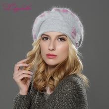 LILIYABAIHE สไตล์ใหม่ winteWomen Beret หมวกถักหมวก Angora Beret CLASSIC Grid ของ Mink ดอกไม้ตกแต่งหมวกคู่หมวก