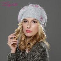 LILIYABAIHE NEW Style WinteWomen Beret Hat Knitted Wool Angora Beret Classic Grid Of Mink Flower Decoration