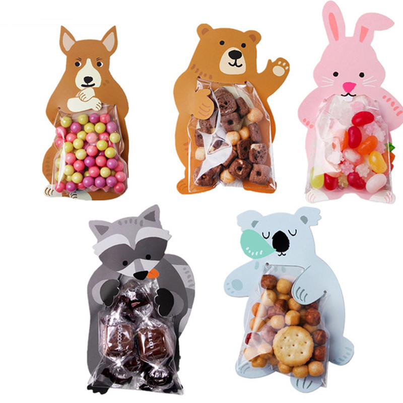 50pcs Cookie Packaging Cute Candy Rabbit Bear Fox Cartoon Plastic Bags For Biscuits Snack Baking Package With Card Head
