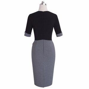 Image 3 - Güzel sonsuza kadar Vintage olgun Patchwork kısa düğme kollu v yaka giymek iş Bodycon kadın ofis kalem ince elbise B364