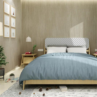 beibehang High grade solid color striped straw plain wallpaper modern minimalist living room study linen cloth gray wall paper