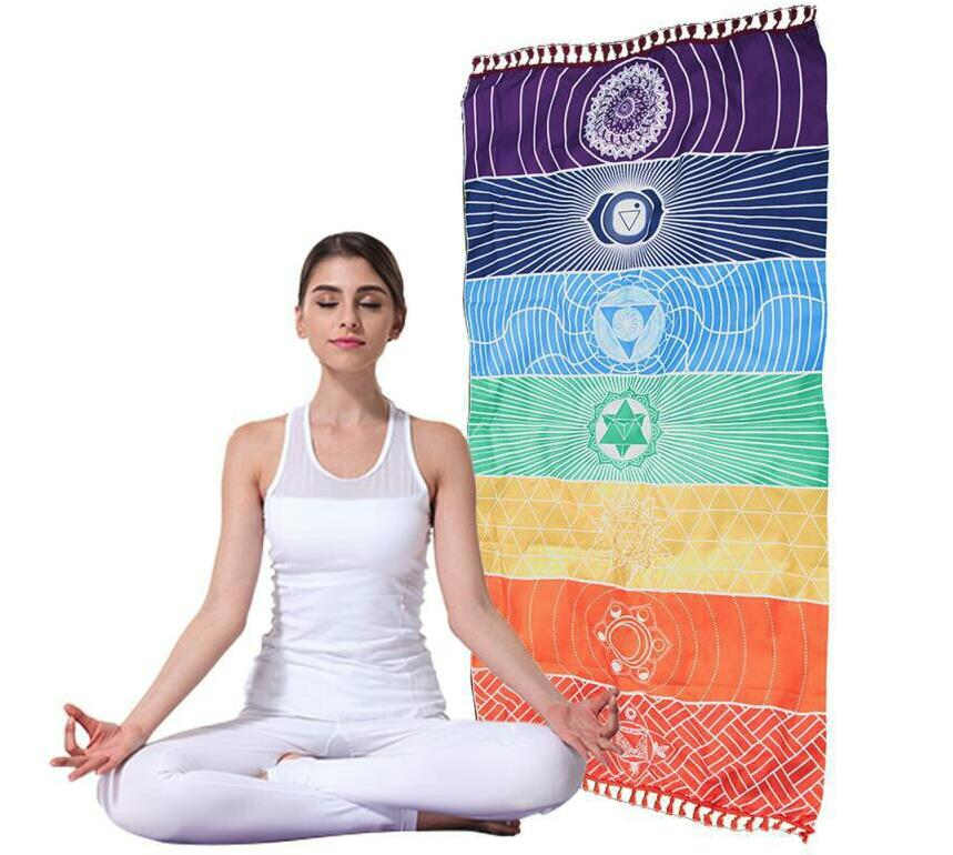 75*150cm/150*150cm BeddingOutlet 7 Chakra Rainbow Stripes Beach Towel For Adults Mandala Blanket Bohemian Tapestry Yoga Mat