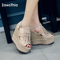 ZawsThia 2018 Summer Woman High Heel Platform Peep Toe Shoes Wedge Sandals With Tassels Fringes Gladiator