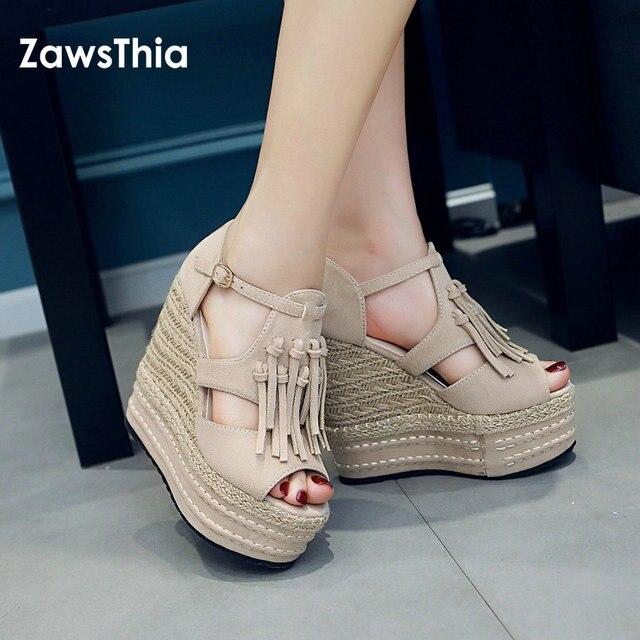 ZawsThia 2019 summer woman high heel platform peep toe shoes wedge sandals  with tassels fringes gladiator sandals women sandalia 7a3baa8550aa