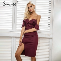 Simplee Off Shoulder Ruffle Sexy Bodycon Dress Women Split High Waist Elegant Wine Red Party Dresses