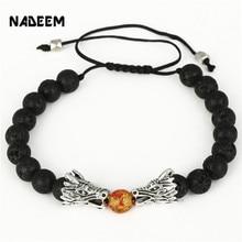 NADEEM 8MM Natural Tiger Eye,Howlite,Lave Stone Beads Bracelet Jewelry Silver Color Dragon Charm Braided Macrame Bead Bracelet