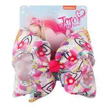 7 Colorful Diamond Large Party Bows For Girls Kids Handmade Hair Clip Accessories Print Ribbon Unicorn Knot Jumbo Bow