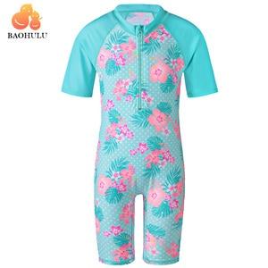BAOHULU Cyan Flower Baby Girl Swimsuit UV UPF50+ One Piece Kids Girls Swimwear for 3-12 Years Children Swimming Suit Beachwear(China)