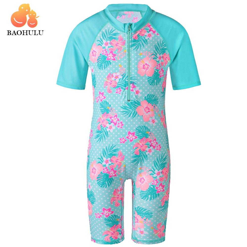 BAOHULU Cyan Flower Baby Girl Swimsuit UV UPF50+ One Piece Kids Girls Swimwear for 3-12 Years Children Swimming Suit Beachwear