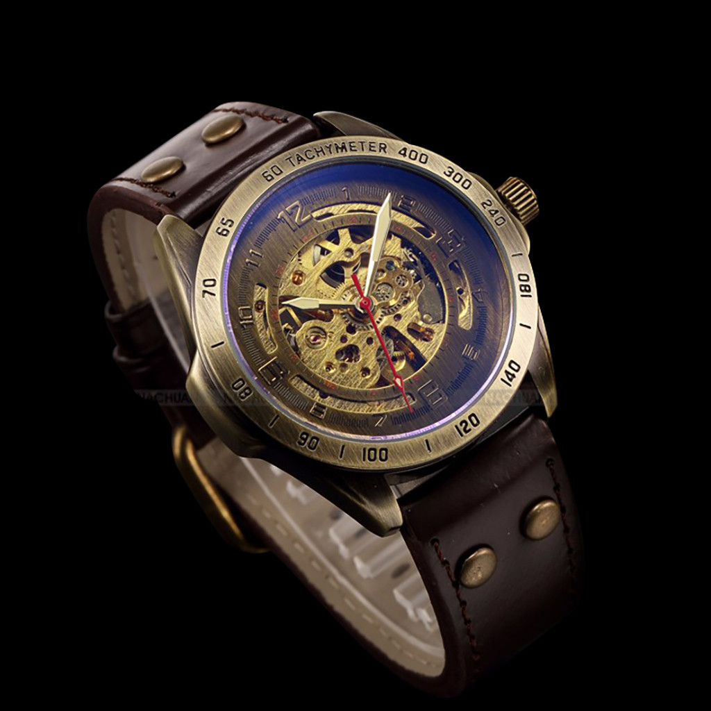 man watch 2019 Hollow Steampunk Watch Men's Leather Retro Men's Automatic Mechanical Watch watch men luxury