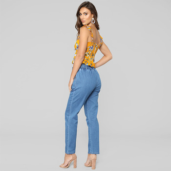 Boyfriend high waist ladies elastic plus size push up wide leg jeans