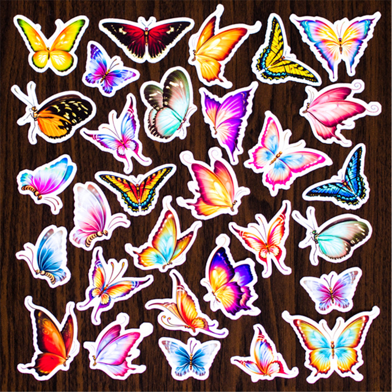 Hot Sale 30 Pcs Color Butterfly Sticker Mixed Funny  Decals Luggage Laptop Car Styling /Eason Stickers/DIY Scrapbooking